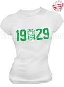 Iota Phi Lambda T-Shirt with Founding Year and Crest, White - EMBROIDERED with Lifetime Guarantee
