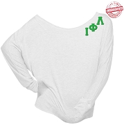 Iota Phi Lambda Long Sleeve Shoulder Shirt with Logo Style Greek Letters, White - EMBROIDERED with Lifetime Guarantee