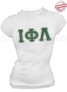 Iota Phi Lambda Triple Layer Greek Letter T-Shirt, White - EMBROIDERED with Lifetime Guarantee