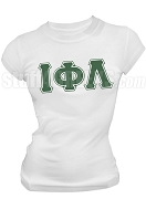 Iota Phi Lambda Triple Layer Greek Letter Screen Printed T-Shirt, White