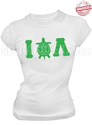 Iota Phi Lambda Greek Letter T-Shirt with Turtle Icon, White - EMBROIDERED with Lifetime Guarantee