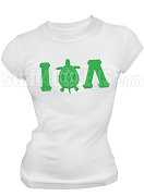 Iota Phi Lambda Greek Letter Screen Printed T-Shirt with Turtle Icon, White