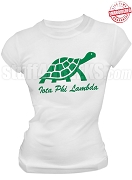 Iota Phi Lambda Turtle T-Shirt with Organization Name, White - EMBROIDERED with Lifetime Guarantee