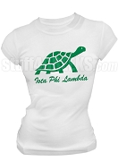 Iota Phi Lambda Turtle Screen Printed T-Shirt with Organization Name, White