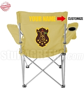 Iota Phi Theta Crest Lawn Chair with Choice of Text, Tan - EMBROIDERED WITH LIFETIME GUARANTEE