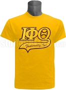 Iota Phi Theta Greek Letter Tail Patch T-Shirt, Gold (NS)