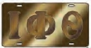 Iota Phi Theta License Plate with Brown Letters on Gold Background (CQ)