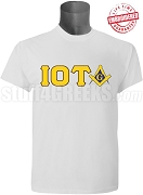 Iota Phi ThetaMason Square and Compass T-Shirt, White - EMBROIDERED with Lifetime Guarantee