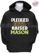 Iota Phi Theta Raised Mason Hoodie Sweatshirt, Black - EMBROIDERED with Lifetime Guarantee