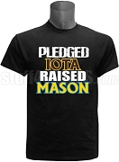 Iota Phi Theta Raised Mason Screen Printed T-Shirt, Black