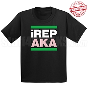 Alpha Kappa Alpha iREP T-Shirt, Black - EMBROIDERED with Lifetime Guarantee