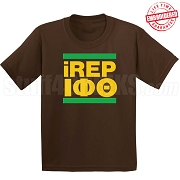 Iota Phi Theta iREP T-Shirt, Brown - EMBROIDERED with Lifetime Guarantee