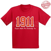 1911 Kappa Alpha Psi T-Shirt, red - EMBROIDERED with Lifetime Guarantee