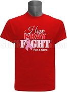 Kappa Alpha Psi Hope, Pray, Fight Breast Cancer Awareness Screen Printed T-Shirt, Red