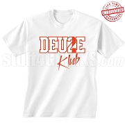 Deuce Klub T-Shirt, White/Red - EMBROIDERED with Lifetime Guarantee