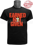 Kappa Alpha Psi Earned Not Given T-Shirt, Black - EMBROIDERED with Lifetime Guarantee