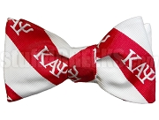 Kappa Alpha Psi Striped Greek Letter Bow Tie, Red/White (NS)