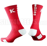 Kappa Alpha Psi Calf Sock with Greek Letters and Founding Year, Red /White (NS)
