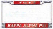 Kappa Alpha Psi License Plate Frame - Car Tag Frame - Red Background, Silver Letters (CQ)