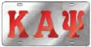 Kappa Alpha Psi License Plate with Red Letters on Silver Background (CQ)