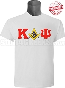 Kappa Alpha Psi/Mason Square and Compass T-Shirt, White - EMBROIDERED with Lifetime Guarantee