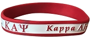 Kappa Alpha Psi Greek Letter Silicon Wristband with Organization Name, White/Red