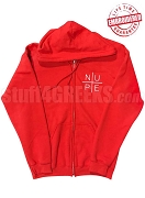 Kappa Alpha Psi Full-Zip Hoodie Sweatshirt with Nupe Cross Design, Red - EMBROIDERED WITH LIFETIME GUARANTEE