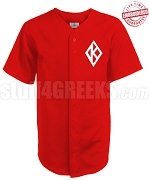 Kappa Alpha Psi Cloth Baseball Jersey with K-Diamond Icon, Red (TW) - EMBROIDERED WITH LIFETIME GUARANTEE