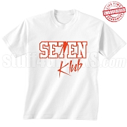 7/Seven Klub T-Shirt, White/Red - EMBROIDERED with Lifetime Guarantee