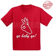 Yo Baby Yo T-Shirt, Red - EMBROIDERED with Lifetime Guarantee