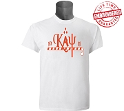 KappaNupeGear - Kappa, Cane and Founding Year T-Shirt, White - EMBROIDERED with Lifetime Guarantee