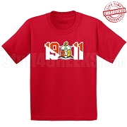 Kappa Alpha Psi T-Shirt with Crest and Founding Year, Red - EMBROIDERED with Lifetime Guarantee