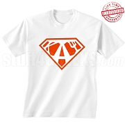 Kappa Alpha Psi T-Shirt with Greek Letters Inside Superman Shield, White - EMBROIDERED with Lifetime Guarantee