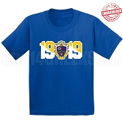 Kappa Kappa Psi T-Shirt with Crest and Founding Year, Royal Blue - EMBROIDERED with Lifetime Guarantee