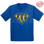 Kappa Kappa Psi T-Shirt with Greek Letters Inside Superman Shield, Royal Blue - EMBROIDERED with Lifetime Guarantee