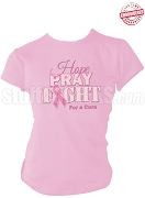 Hope, Pray, Fight Breast Cancer Awareness T-Shirt, Pink - EMBROIDERED with Lifetime Guarantee