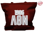 Lambda Theta Nu Tote Bag with Greek Letters and Founding Year, Maroon
