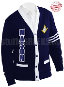 Mason Square & Compass Cardigan with Organization Name White Stripes, Reflex Blue (A+)