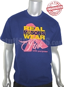 Mason Pink Ribbon Breast Cancer Awareness T-Shirt, Royal - EMBROIDERED with Lifetime Guarantee
