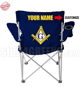 Mason Crest Lawn Chair with Choice of Text, Navy Blue - EMBROIDERED WITH LIFETIME GUARANTEE
