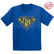 Mason T-Shirt with Letters Inside Superman Shield, Royal Blue - EMBROIDERED with Lifetime Guarantee