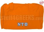Nu Tau Beta Duffel Bag, Orange - EMBROIDERED with Lifetime Guarantee
