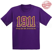 1911 Omega Phi Psi T-Shirt, Purple - EMBROIDERED with Lifetime Guarantee