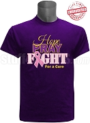 Omega Psi Phi Hope, Pray, Fight Breast Cancer Awareness T-Shirt, Purple - EMBROIDERED with Lifetime Guarantee