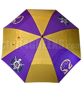 Omega Psi Phi Auto Open Golf Umbrella with Shield and Omega Man Hook, Purple/Gold (NS)
