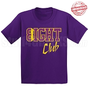 8/Eight Club T-Shirt, Purple/Old Gold - EMBROIDERED with Lifetime Guarantee