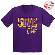 5/Five Club T-Shirt, Purple/Old Gold - EMBROIDERED with Lifetime Guarantee