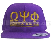 Omega Psi Phi Greek Letter Snapback Cap, Purple (SAV)