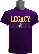 Omega Psi Phi Screen Printed Legacy T-Shirt, Purple