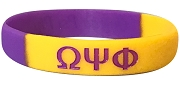 Omega Psi Phi Greek Letter Silicon Wristband, Purple/Gold